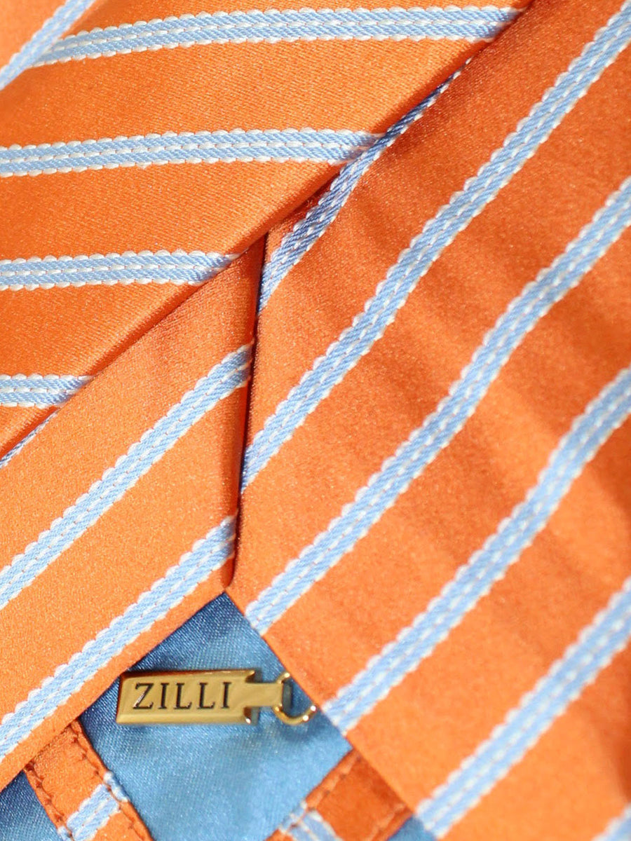 Zilli Tie Orange Blue Stripes Design - Wide Necktie