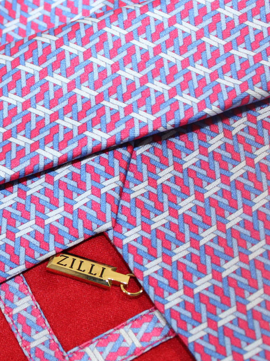 Zilli Silk Tie Royal Red Blue Geometric - Wide Necktie
