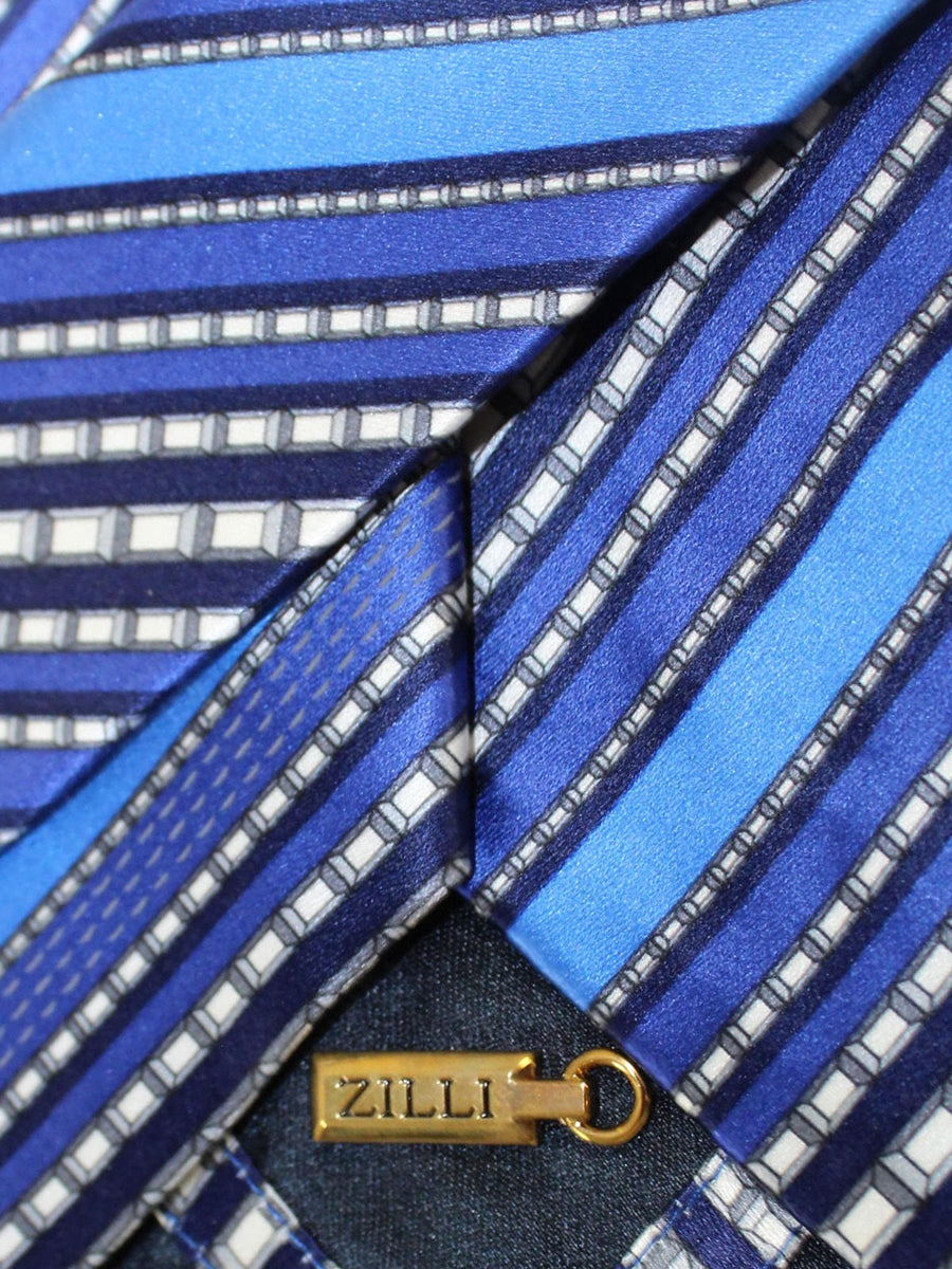 Zilli Silk Tie Royal Silver Stripes - Wide Necktie