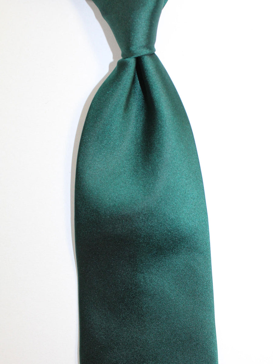 Zilli Silk Tie Dark Green Solid Design - Wide Necktie