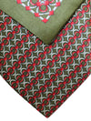 Zilli Silk Tie & Matching Pocket Square Set Forest Green Red Silver Geometric Design FINAL SALE