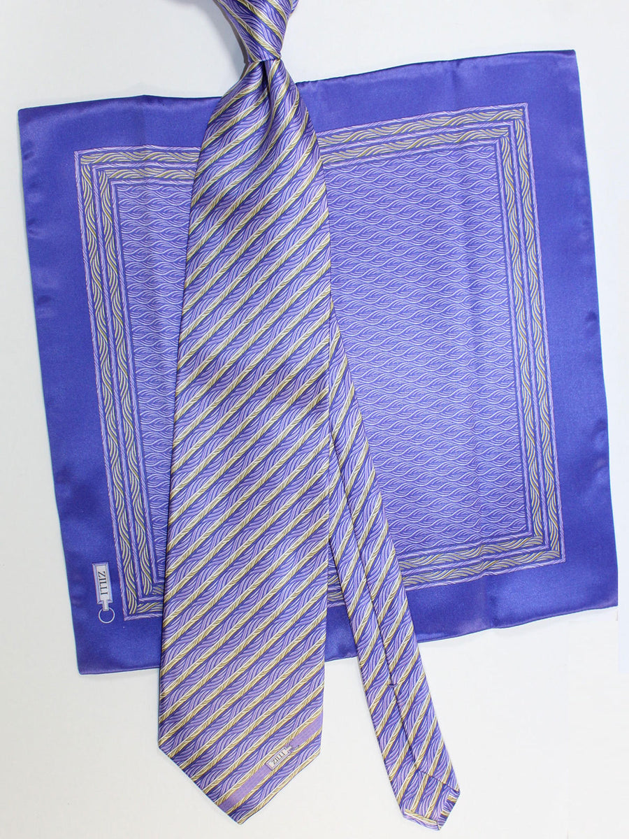 Zilli Silk Tie & Matching Pocket Square Set Purple Stripes Design FINAL SALE