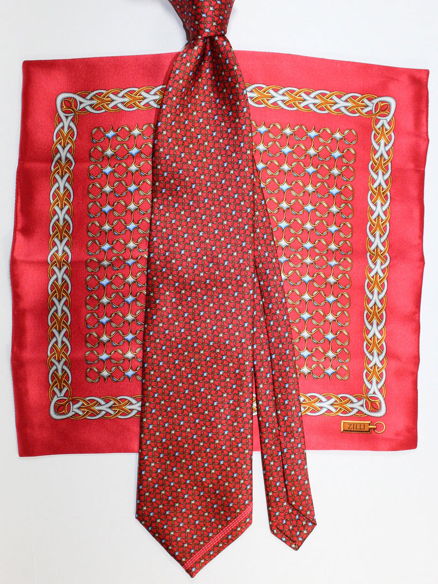 Zilli Silk Tie & Matching Pocket Square Set Red Geometric Design