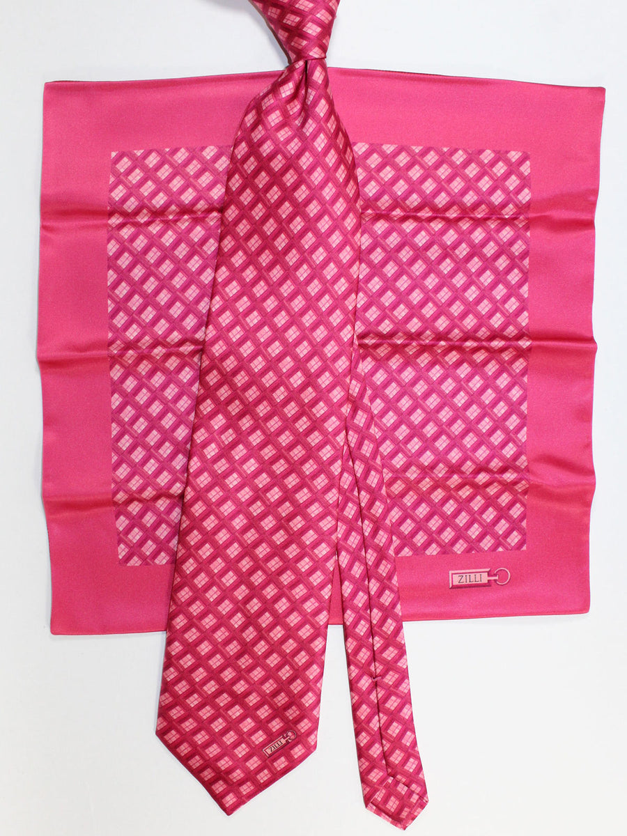 Zilli Silk Tie & Matching Pocket Square Set Pink Fuchsia Geometric Design FINAL SALE