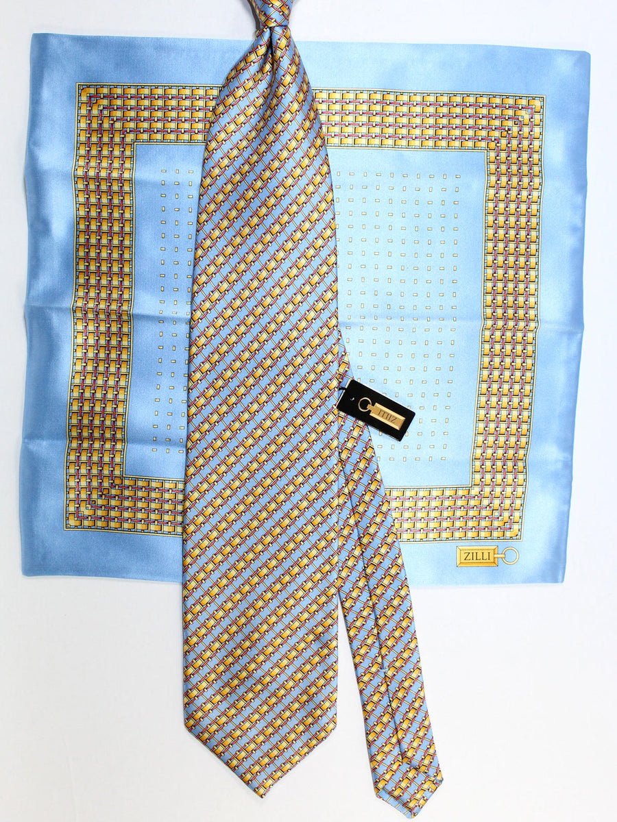 Zilli Silk Tie & Matching Pocket Square Set Sky Blue Gold Geometric Design FINAL SALE
