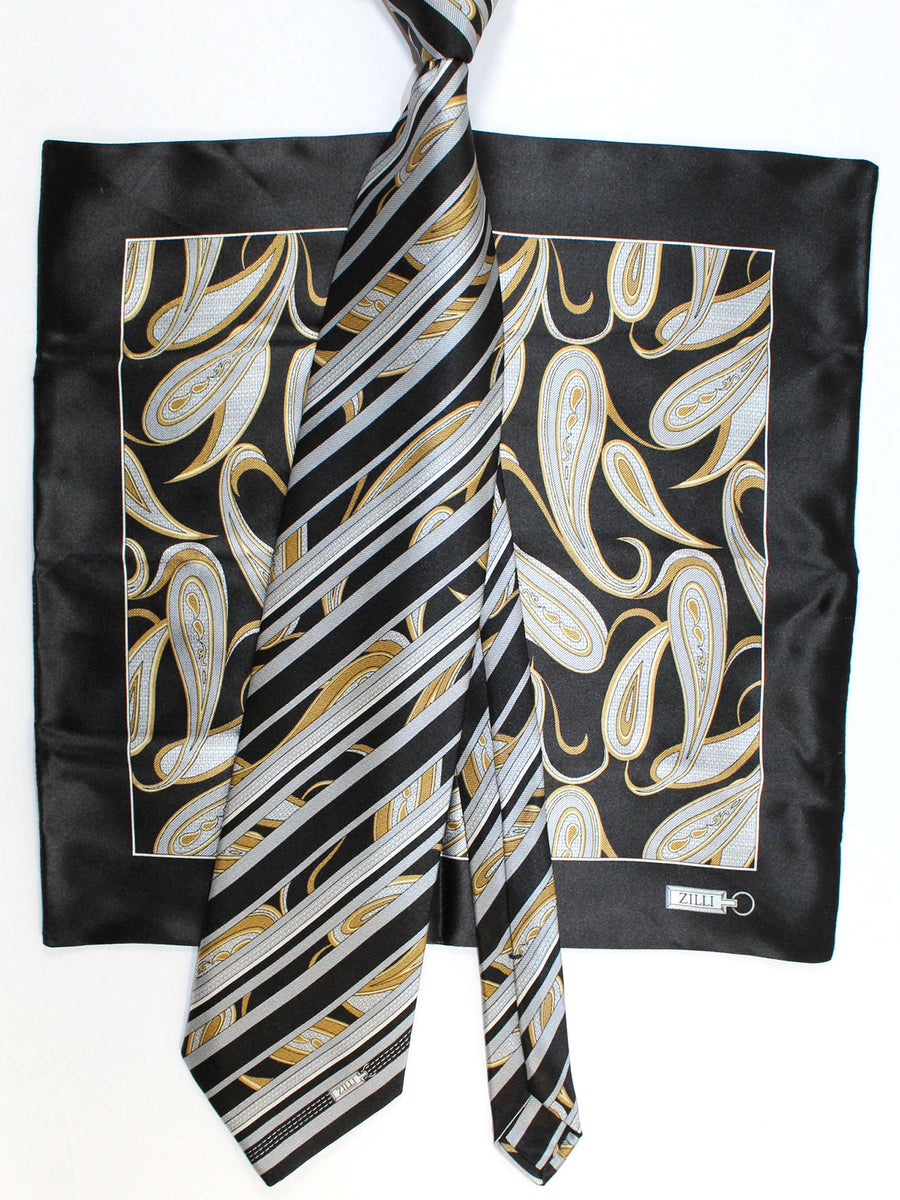 Zilli Silk Tie & Pocket Square Set Black Gray Gold Stripes Paisley