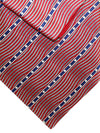 Zilli Silk Tie & Pocket Square Set Red Silver Navy Stripes