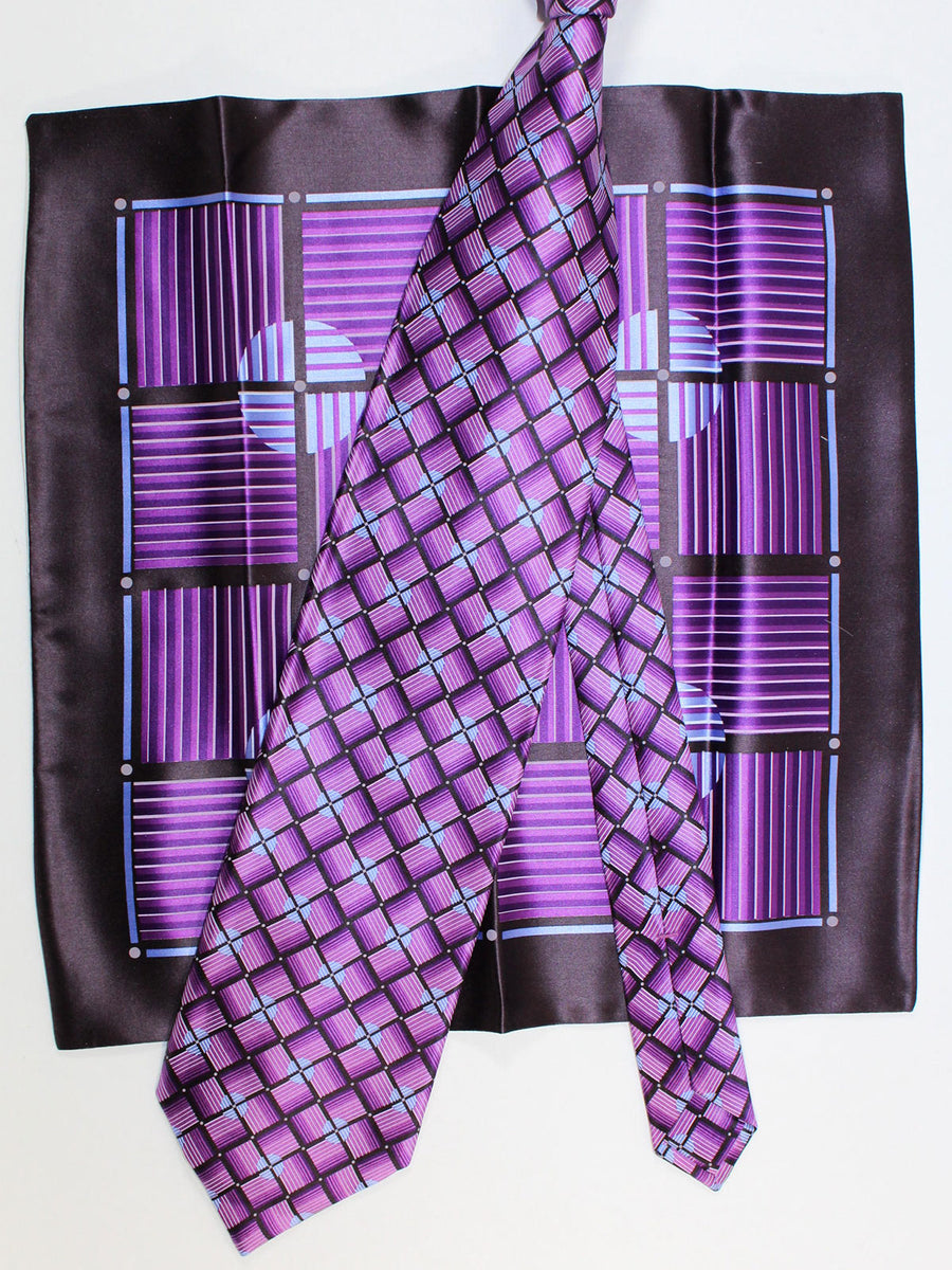 Zilli Silk Tie & Pocket Square Set Purple Blue Geometric