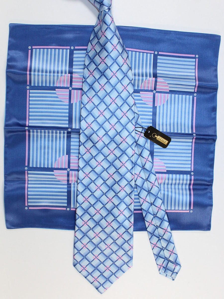 Zilli Silk Tie & Pocket Square Set Sky Blue Pink Geometric