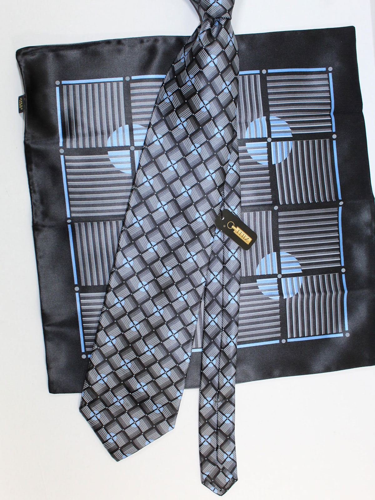 Zilli Silk Tie & Pocket Square Set Gray Blue Geometric