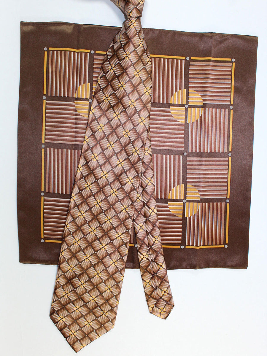 Zilli Silk Tie & Pocket Square Set Brown Gold Geometric