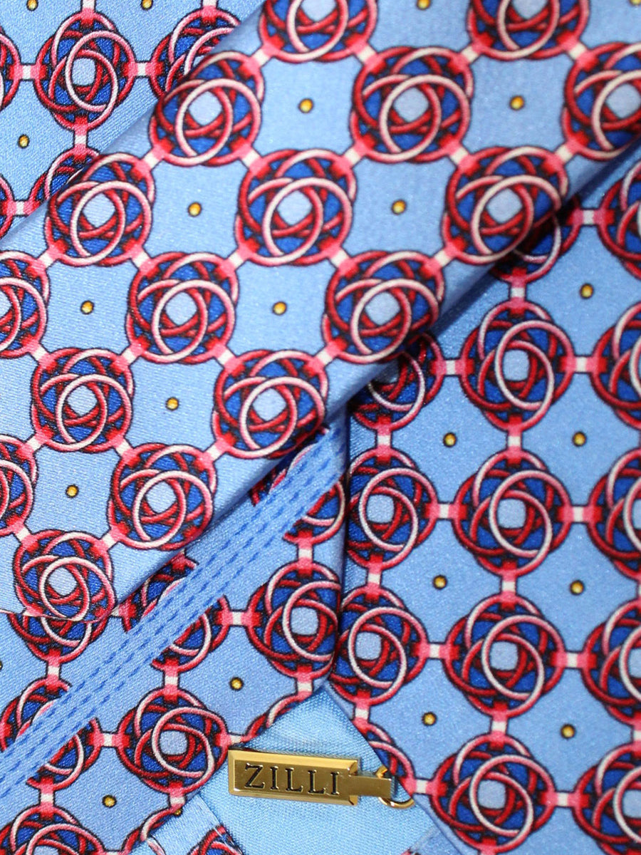 Zilli Silk Tie Blue Red Geometric Design - Wide Necktie
