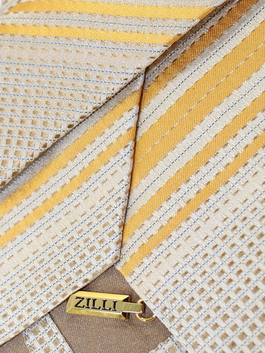 Zilli Silk Tie Silver Mustard Yellow Stripes Design - Wide Necktie