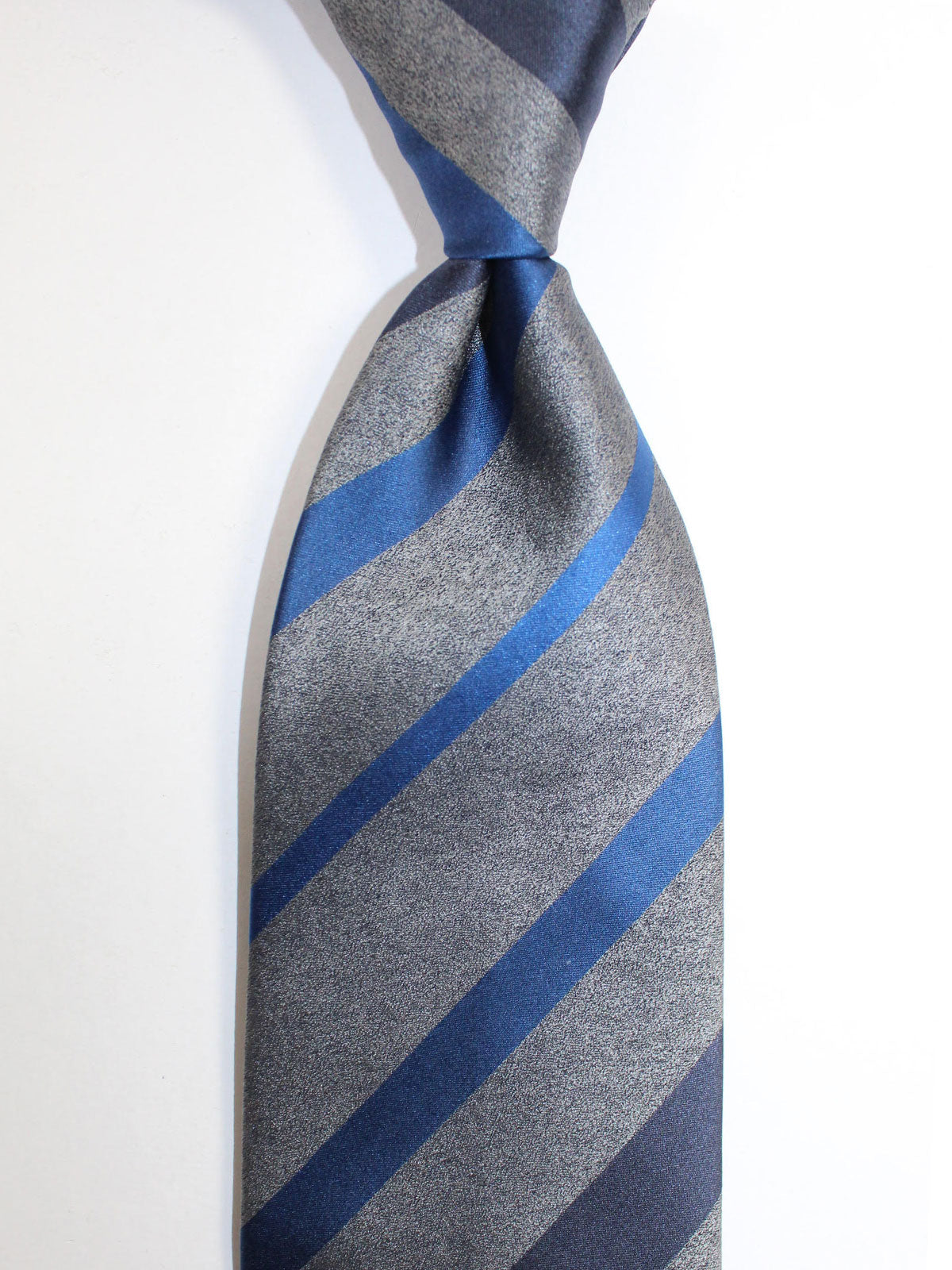 Zilli Silk Tie Gray Royal Blue Stripes Design - Wide Necktie