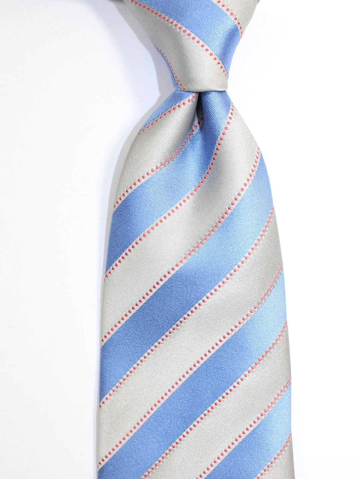 Zilli Silk Tie Gray Blue Red Stripes Design - Wide Necktie