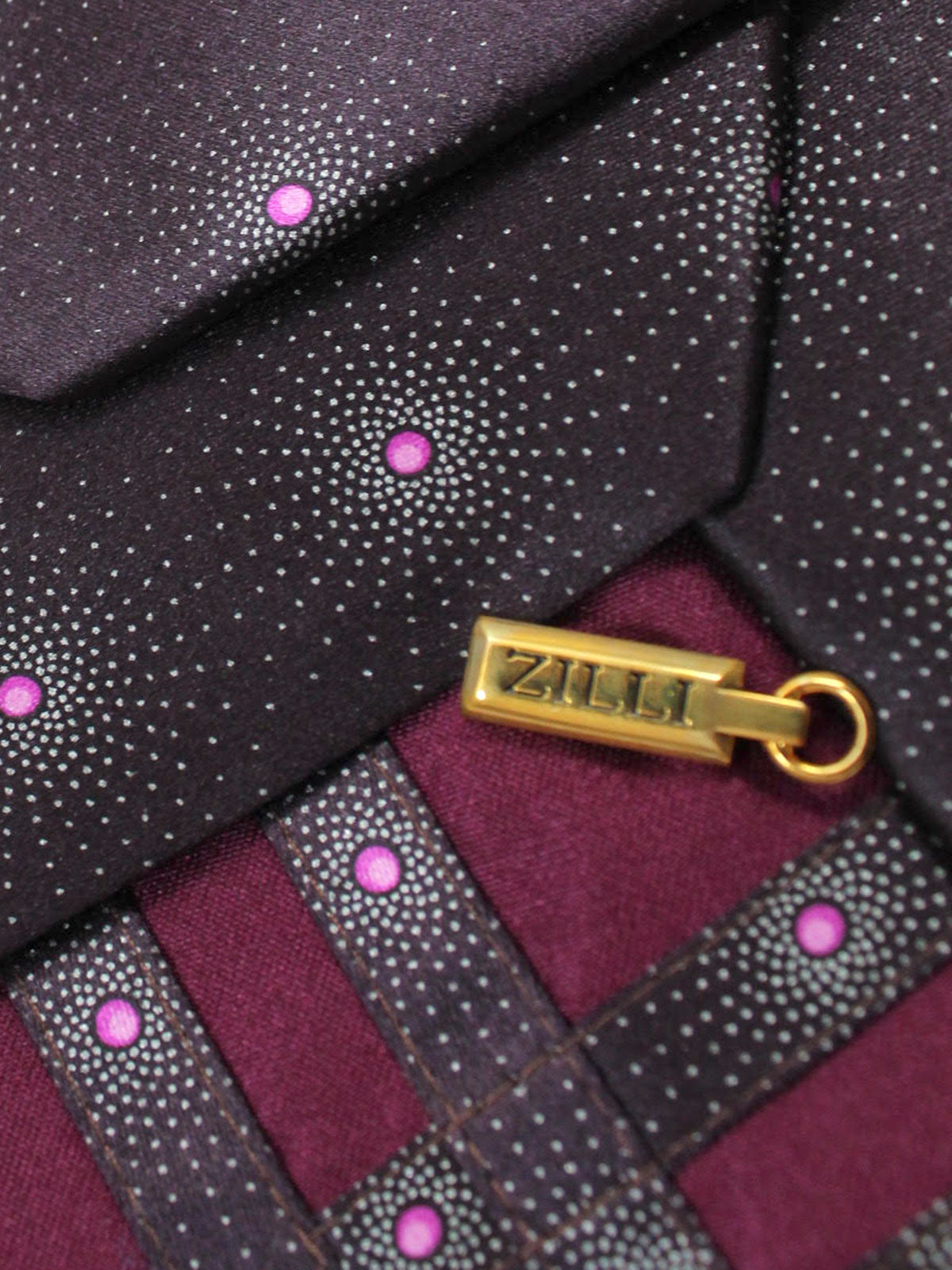 Zilli Silk Tie Purple Pink Geometric Design - Wide Necktie