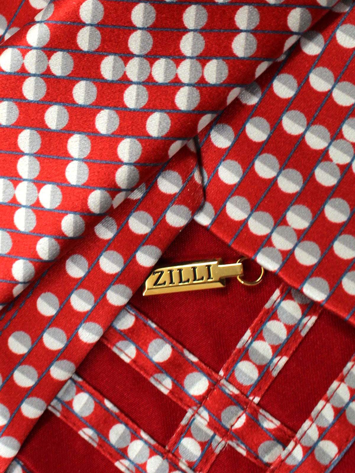 Zilli Silk Tie Red Royal Blue Dots Design - Wide Necktie