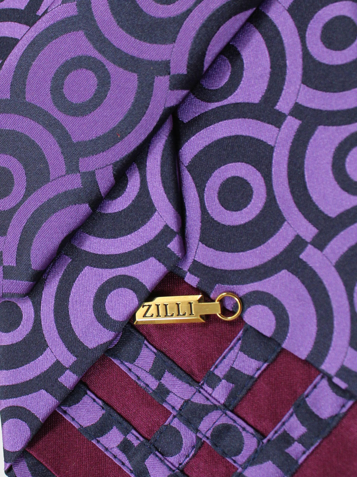 Zilli Silk Tie Purple Geometric Design - Wide Necktie
