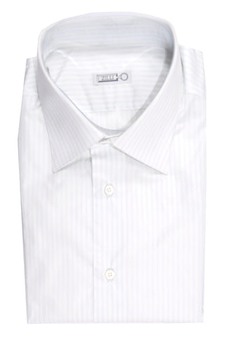 Zilli Dress Shirt White Blue Stripes 41 - 16