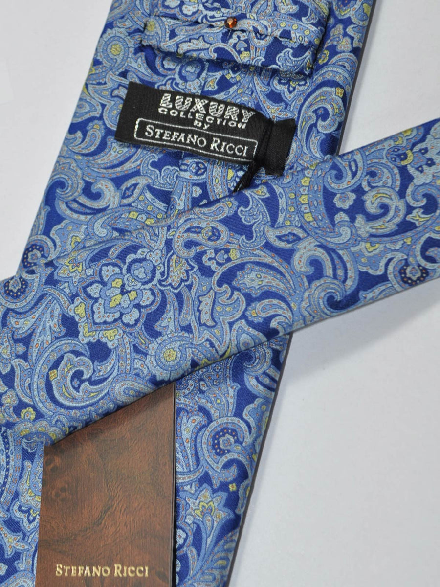 Stefano Ricci Tie Blue Ornamental Design