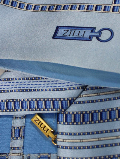 Zilli Extra Long Tie & Pocket Square Set Blue & Sky Blue Stripes SALE