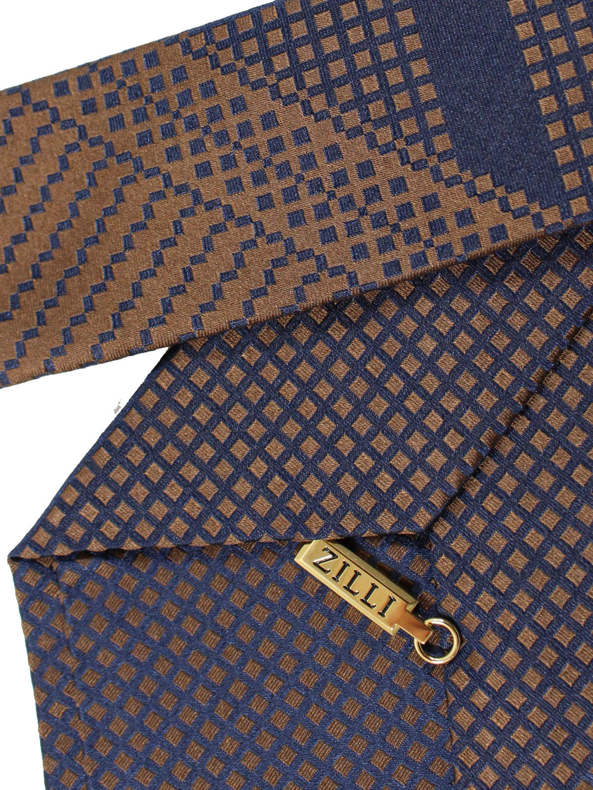 Zilli Silk Tie Brown Midnight Blue Unique Design