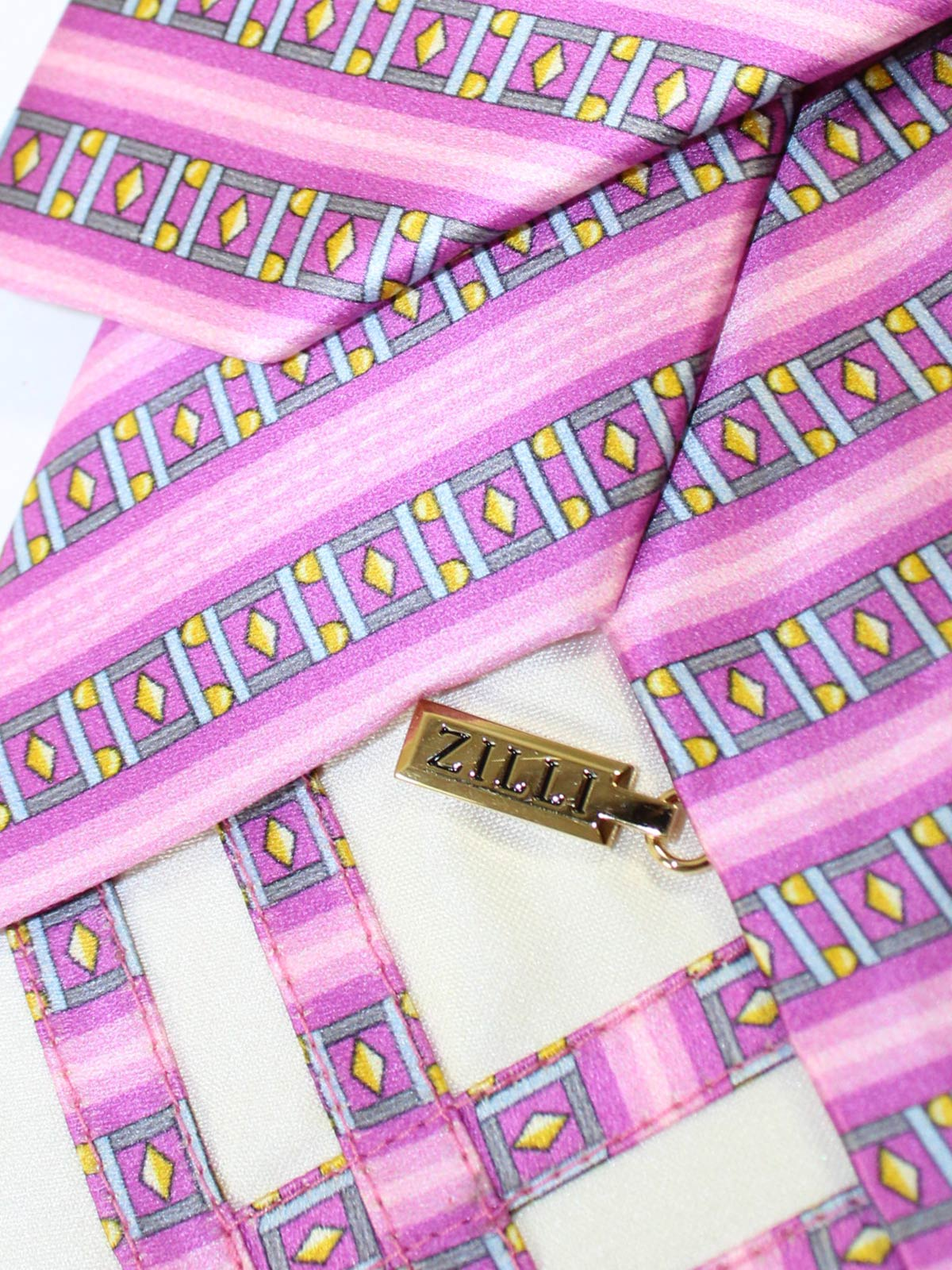 Zilli Silk Tie Pink Gray Stripes - Wide Necktie