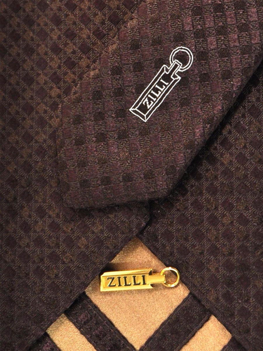 Zilli Tie Brown Tonal Check Design - Wide Necktie FINAL SALE