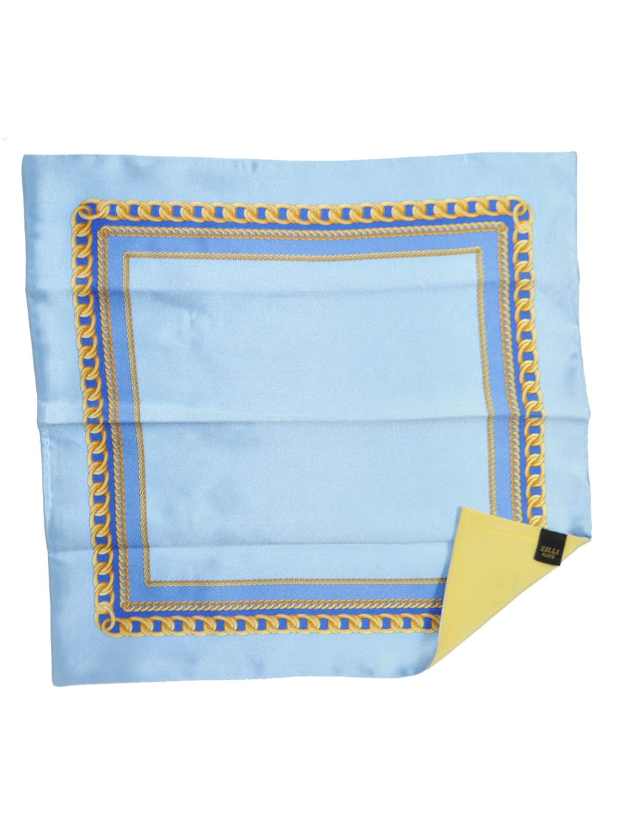 Zilli Pocket Square Sky Blue Gold Chain