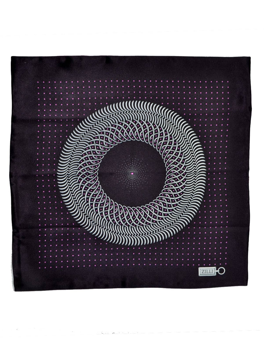 Zilli Silk Pocket Square Black Purple Dots Design