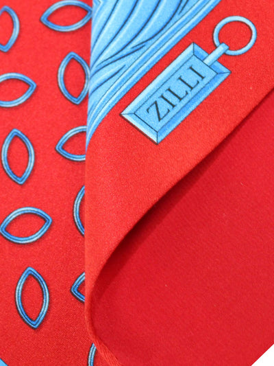 Zilli Silk Pocket Square Red Blue