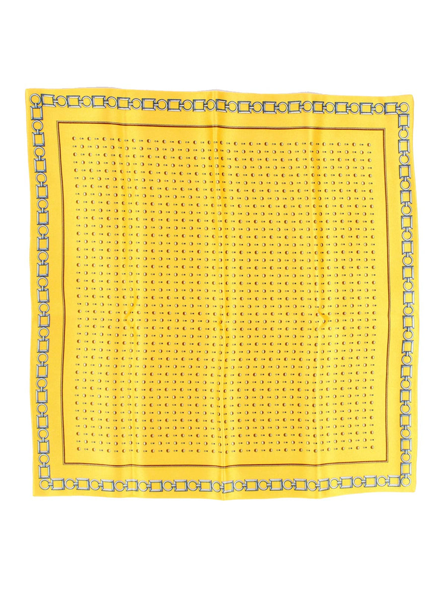 Zilli Silk Pocket Square Yellow Design - Hand Made In Italy