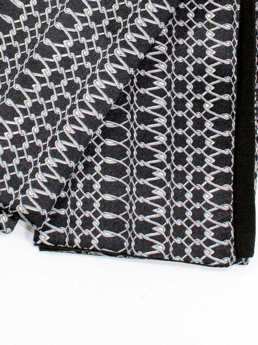 Zilli Silk Pocket Square Black Silver