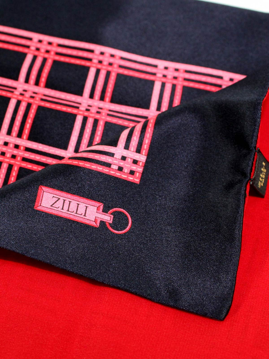 Zilli Silk Pocket Square Dark Blue Pink