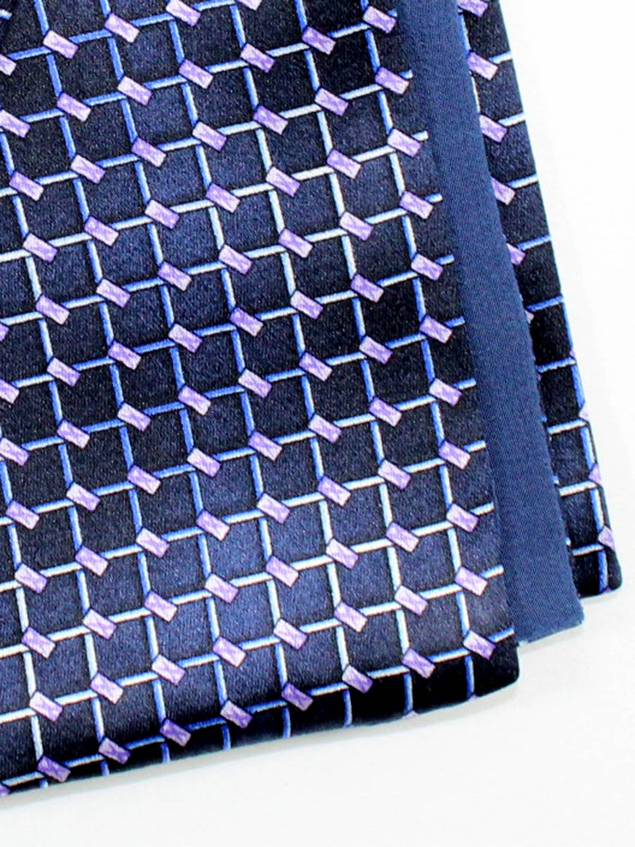 Zilli Pocket Square Navy Lilac Geometric Made In Italy SALE