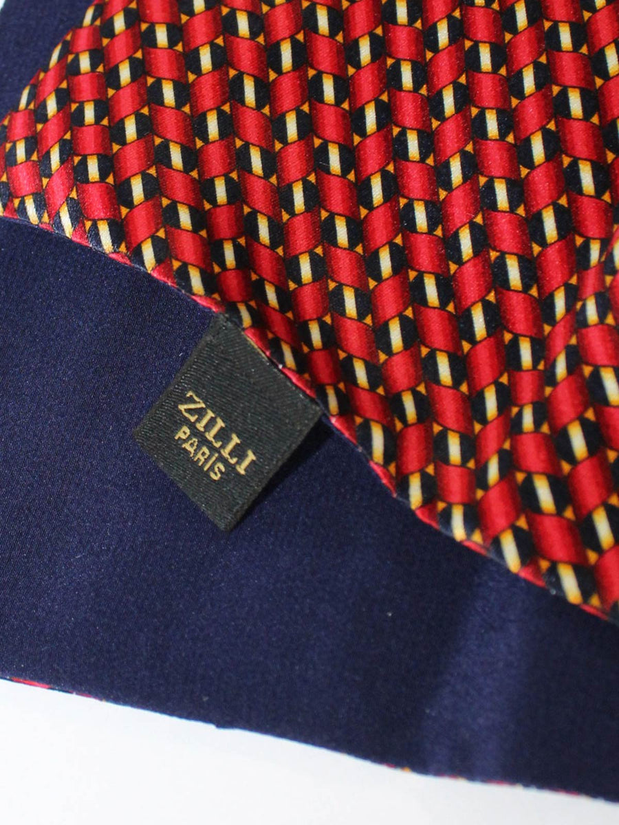 Zilli Pocket Square Navy Burgundy Geometric SALE
