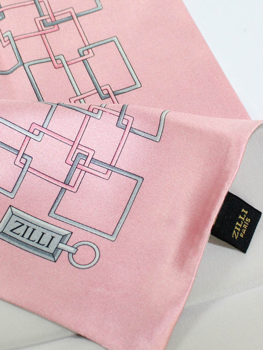 Zilli Paris Pocket Square Pink Gray Geometric