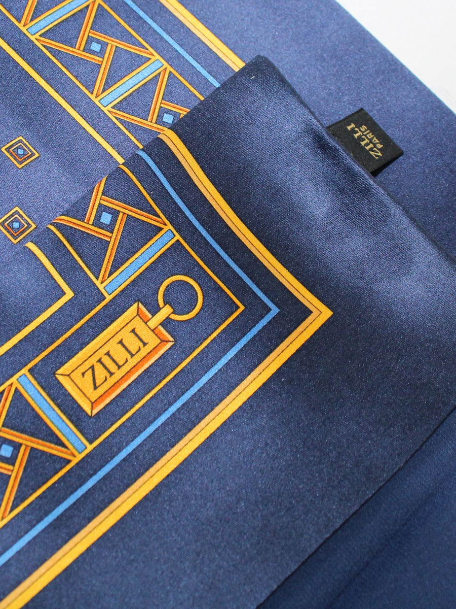 Zilli Pocket Square Navy Gold SALE