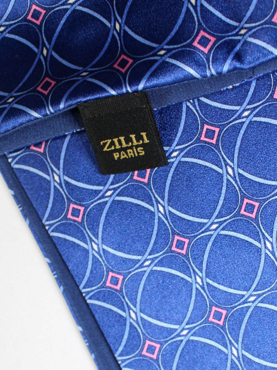 Zilli Pocket Square Navy Blue Pink SALE
