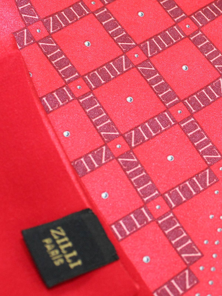 Zilli Silk Pocket Square Red Logo
