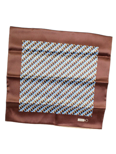 Zilli Silk Pocket Square Brown Blue Silver Design SALE