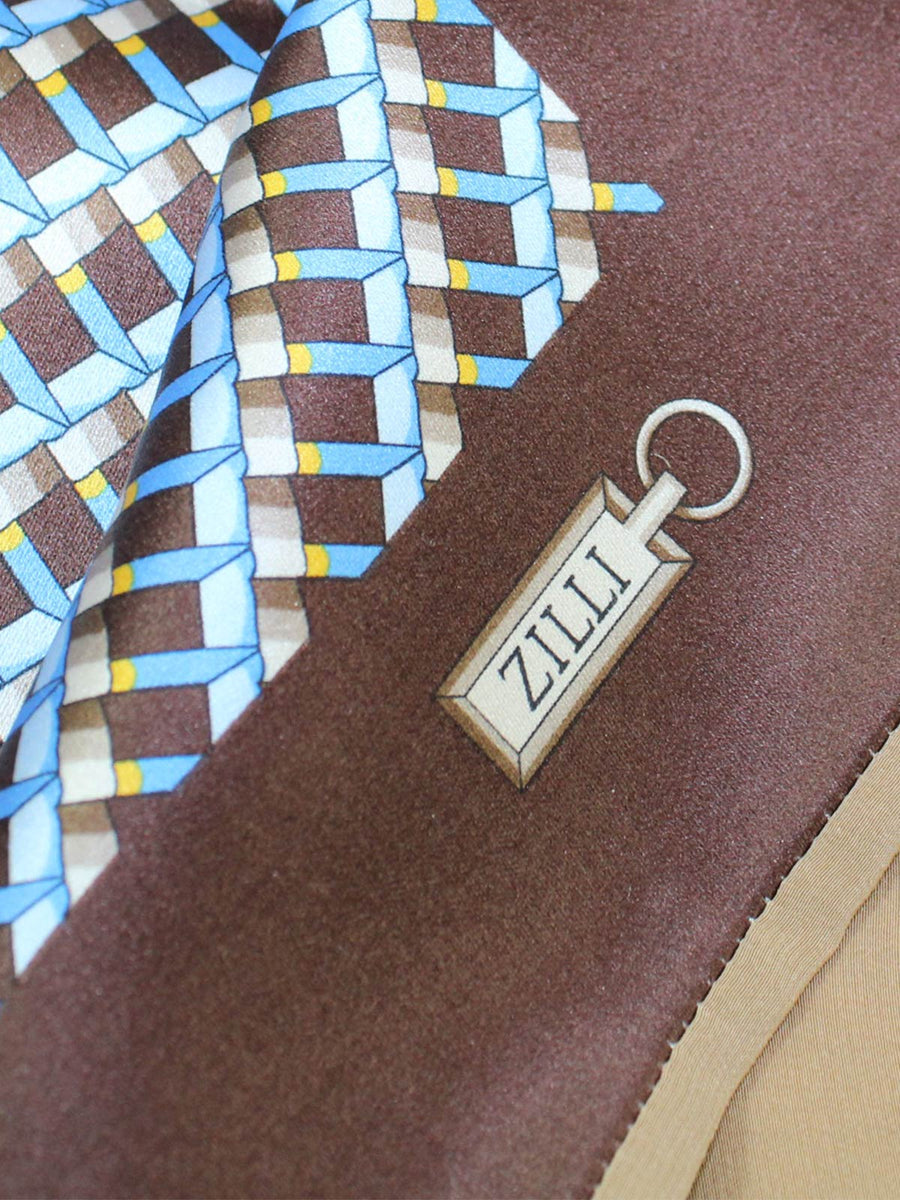 Zilli Silk Pocket Square Brown