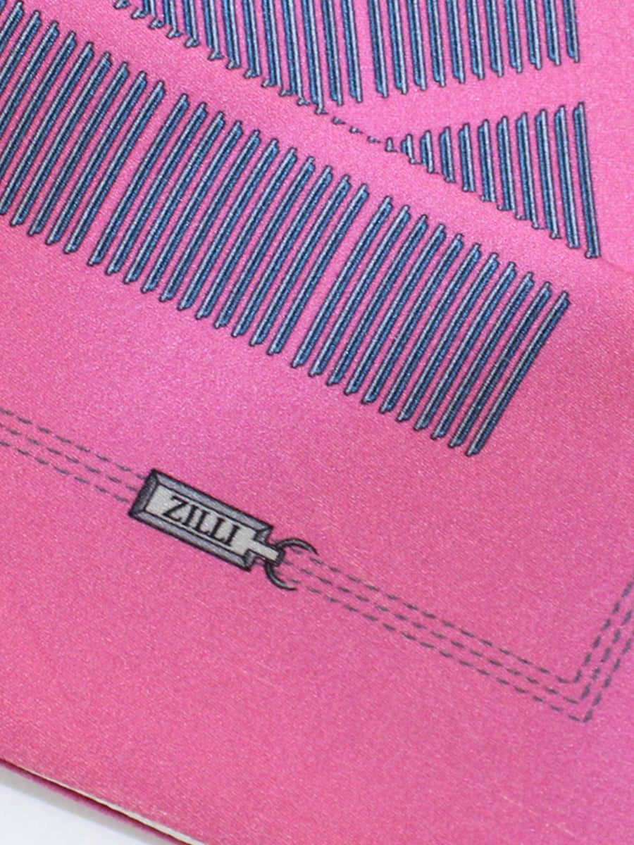 Zilli Silk Pocket Square Dust Pink Design SALE