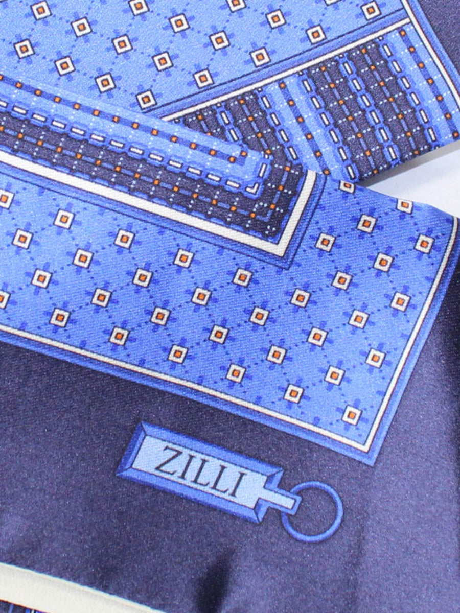 Zilli Silk Pocket Square Blue Geoemtric Design SALE