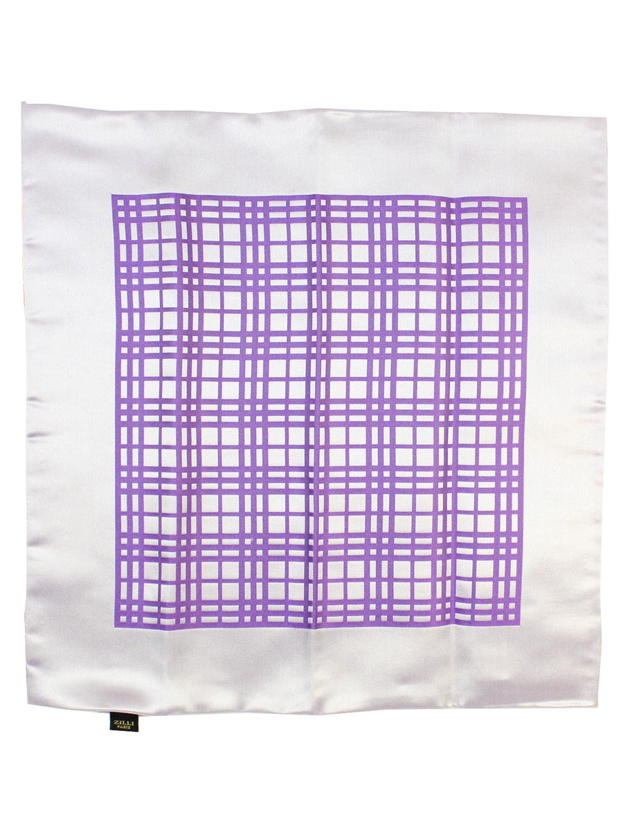 Zilli Silk Pocket Square White Purple Tartan Design