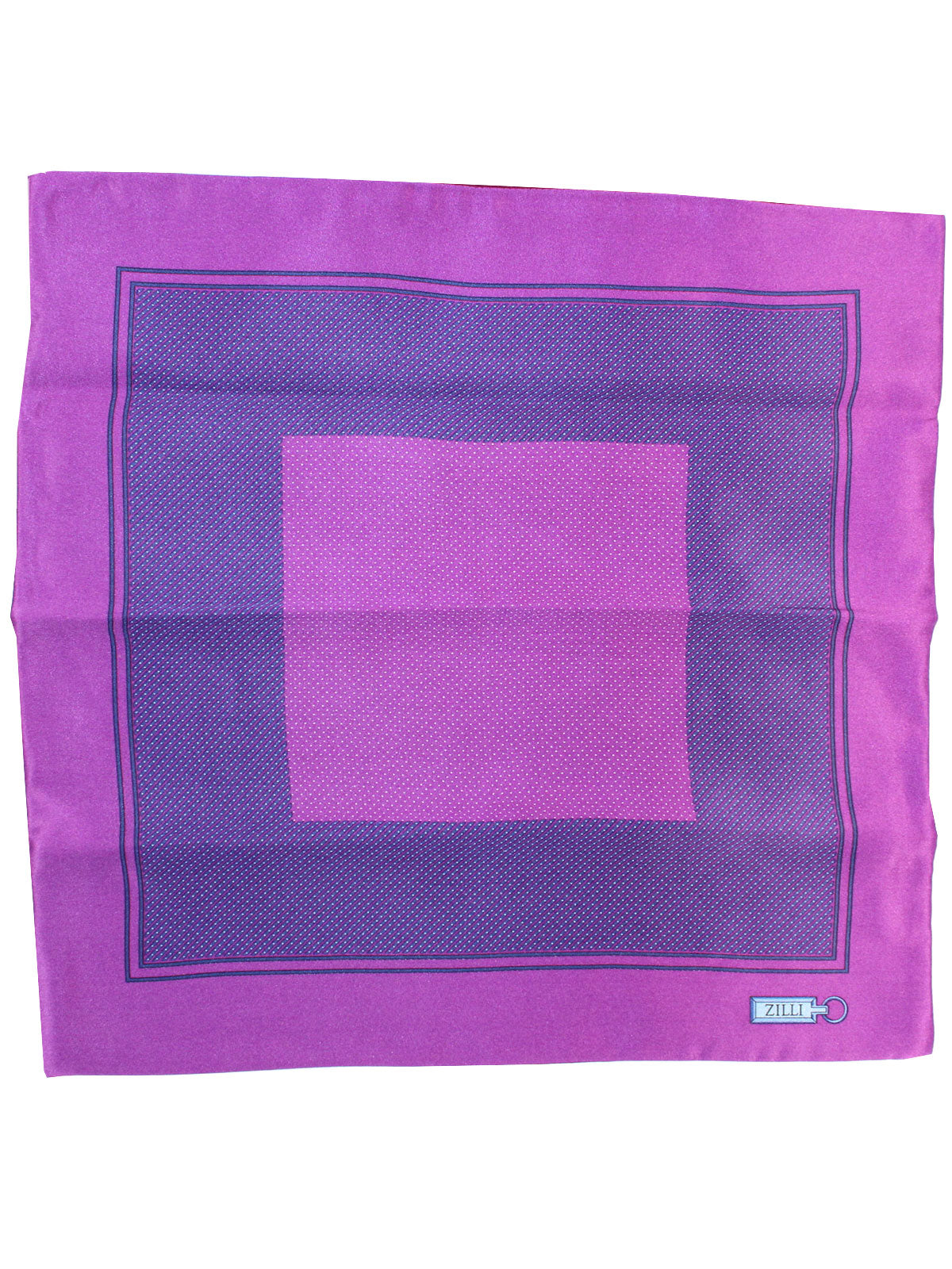 Zilli Silk Pocket Square Purple Geometric Design