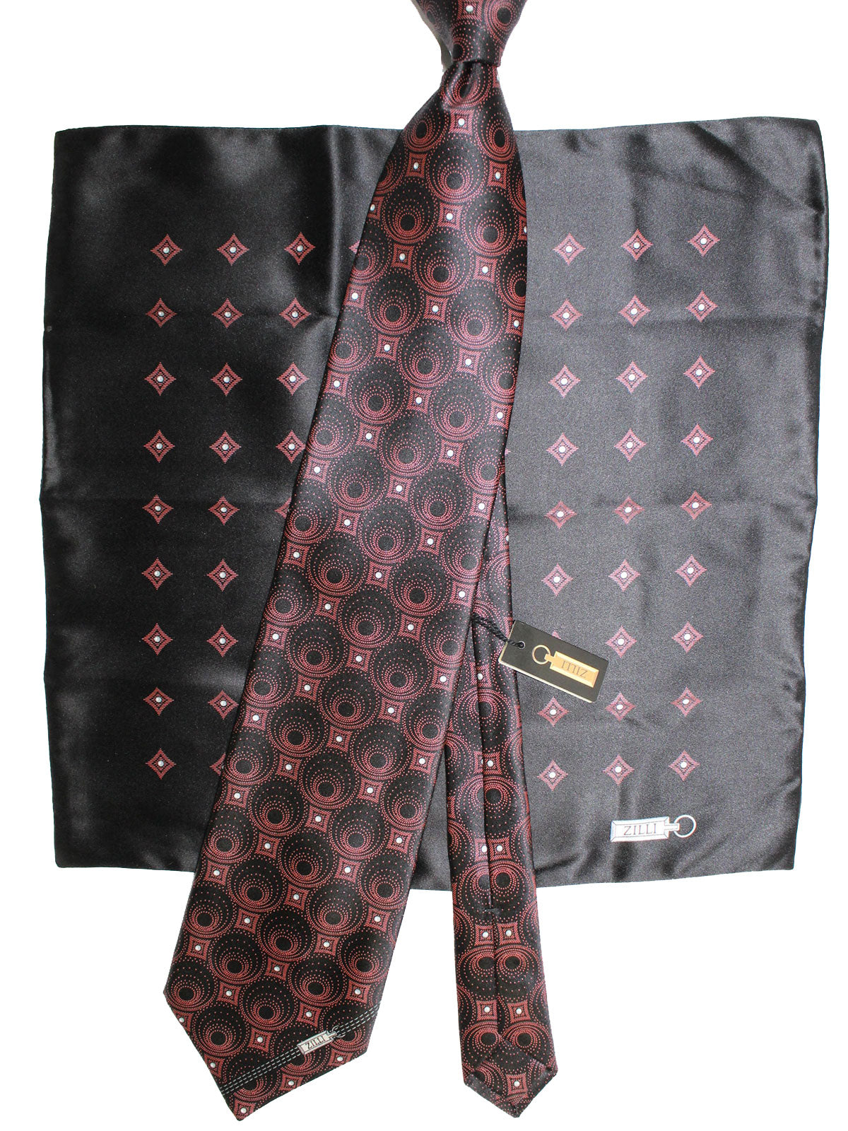 Zilli Silk Tie & Pocket Square Set Brown Black Geometric