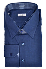 New Zilli Shirt Navy Cotton Cashmere Blend