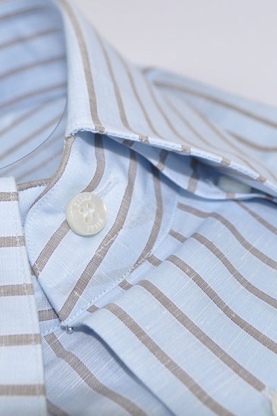 Zilli Dress Shirt Sky Blue Taupe Stripes Linen Cotton Blend 40 - 15 3/4 SALE