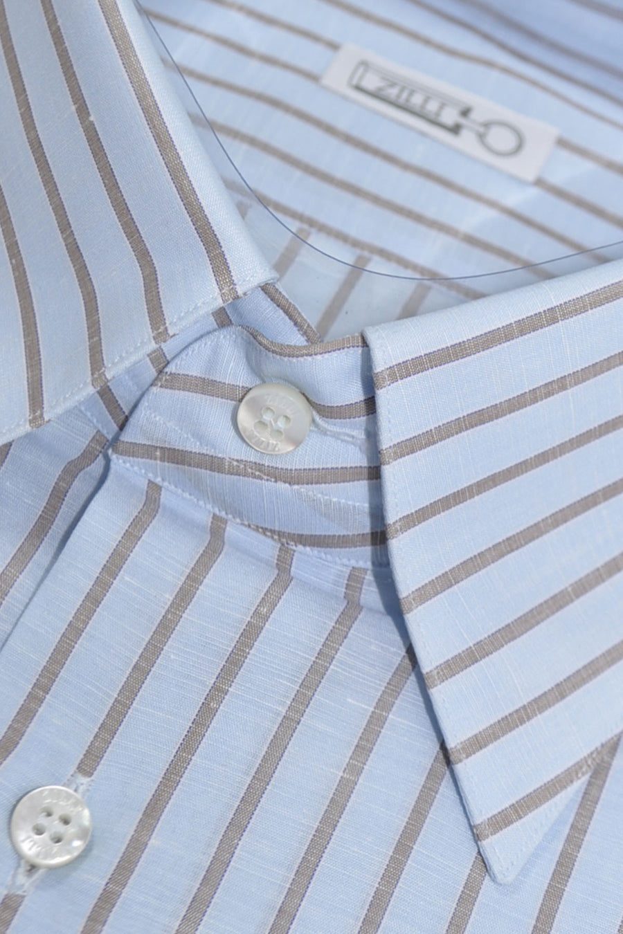 Zilli Dress Shirt Sky Blue Taupe Stripes Linen